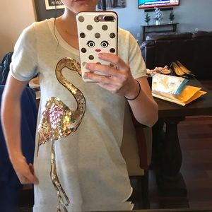 Salad clothing brand sequin flamingo top small